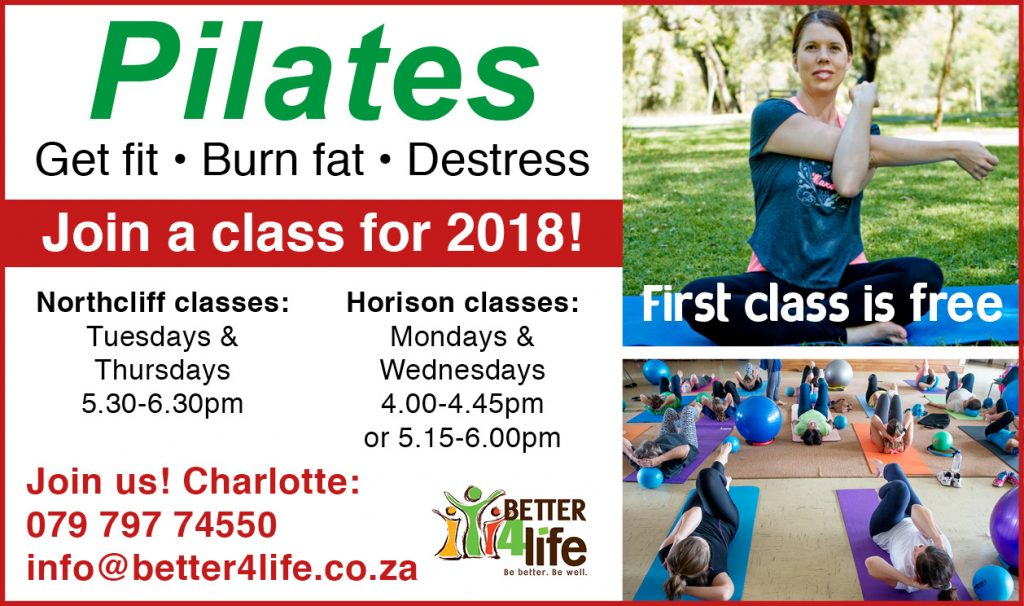 Pilates classes in Horison and Northcliff